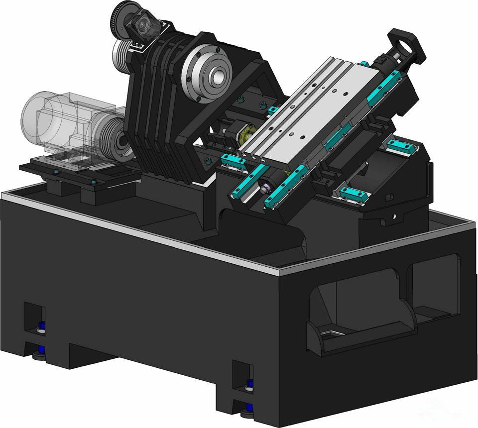 本斜导轨数控车床采用机电一体化设计,床身和底脚为整体结构